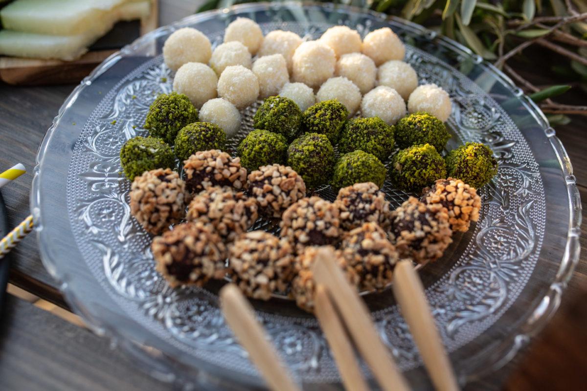 Almond, pistachio and coconut truffles